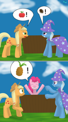 Size: 450x800 | Tagged: apple, applejack, argument, artist:quint-t-w, cape, clothes, comic, earth pony, food, hat, old art, pineapple, pinecone, pinkie pie, pony, pun, safe, shocked, smiling, standing on hindlegs, trixie, trixie eating pinecones, trixie's cape, trixie's hat, unicorn, visual pun
