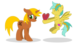 Size: 7500x4500 | Tagged: safe, artist:northernthestar, oc, oc only, oc:cinnamon, oc:shockie, pegasus, pony, unicorn, absurd resolution, blushing, female, male, mare, simple background, stallion, transparent background