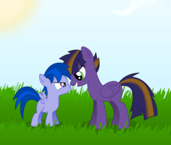 Size: 6500x5500   Tagged: safe, artist:northernthestar, oc, oc only, oc:meteor, oc:turbo, pegasus, pony, absurd resolution, colt, cousins, female, male, mare, offspring, parent:flitter, parent:oc:northern star, parents:canon x oc