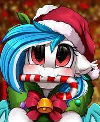 Size: 1446x1764 | Tagged: artist:pridark, bat pony, bat pony oc, bell, blushing, candy, candy cane, christmas, commission, cute, cute little fangs, fangs, food, hat, holiday, mouth hold, oc, ocbetes, oc only, oc:snowflake, pony, pridark's christmas ponies, safe, santa hat, solo, wreath, ych result