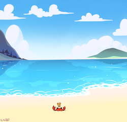 Size: 1971x1898 | Tagged: alternate version, artist:dsp2003, beach, cloud, crab, exclamation point, island, no pony, ocean, safe, scenery