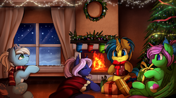 Size: 3862x2155 | Tagged: artist:pridark, bat pony, bat pony oc, blanket, blue coat, blue eyes, blue hair, christmas, christmas lights, christmas stocking, christmas tree, christmas wreath, clothes, commission, cutie mark, deer, deer oc, ear piercing, earring, eyes closed, fire, fireplace, green coat, green eye, hearth's warming, hearth's warming eve, hearth's warming tree, holding, holiday, ice deer, indoors, jewelry, looking out the window, mouth hold, night, oc, oc:electric sparkz, oc:icicle crash, oc only, oc:spiral galaxies, oc:zippy sparkz, orange hair, pegasus, pegasus oc, piercing, pink hair, pony, present, purple coat, purple hair, safe, scarf, sitting, snow, stockings, thigh highs, tiara, tree, unicorn, unicorn oc, white christmas, white hair, white markings, window, wreath, yellow coat
