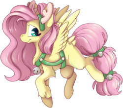 Size: 3087x2704 | Tagged: safe, artist:cutepencilcase, fluttershy, deer, pegasus, pony, reindeer, animal costume, antlers, bell, butt fluff, chest fluff, christmas, costume, cute, female, high res, holiday, leg fluff, looking at you, mare, profile, reindeer costume, shyabetes, simple background, smiling, solo, spread wings, transparent background, wings