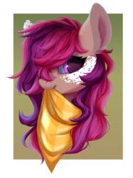 Size: 1607x2149 | Tagged: artist:rokufuro, bandana, bust, female, looking at you, mare, markings, oc, oc:asteroid trail, oc only, pegasus, pony, portrait, safe, solo
