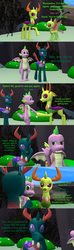 Size: 1920x6480 | Tagged: 3d, artist:papadragon69, backpack, changedling, changeling, changeling hive, choose your own adventure, comic, comic:spike's cyosa, disguise, disguised changeling, dragon, implied princess ember, king thorax, older, older spike, pharynx, prince pharynx, rock, safe, source filmmaker, spike, teenager, teenage spike, thorax, winged spike