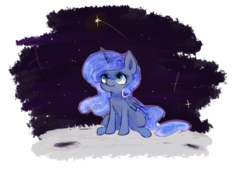 Size: 3508x2480 | Tagged: alicorn, artist:icecreamsandwich12, cute, ear fluff, ethereal mane, female, high res, lunabetes, mare, moon, pony, princess luna, safe, simple background, sitting, solo, space, starry mane, stars, transparent background