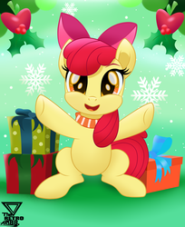 Size: 2400x2945   Tagged: safe, artist:theretroart88, apple bloom, earth pony, pony, adorabloom, christmas, clothes, cute, female, filly, high res, holiday, holly, looking at you, open mouth, present, scarf, snow, snowflake, solo, theretroart88 is trying to murder us, weapons-grade cute