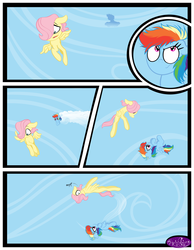 Size: 3500x4500 | Tagged: artist:becauseimpink, butterscotch, colt, comic, comic:transition, dialogue, female, filly, filly fluttershy, filly rainbow dash, fluttershy, flying, male, pegasus, pony, rainbow dash, rule 63, safe, scared, transgender, younger