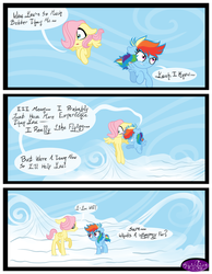 Size: 3500x4500 | Tagged: artist:becauseimpink, cloud, colt, comic, comic:transition, dialogue, female, filly, filly fluttershy, filly rainbow dash, fluttershy, flying, male, on a cloud, pegasus, pony, rainbow dash, safe, younger