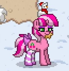 Size: 258x267   Tagged: safe, oc, oc only, oc:cherry days, pony, unicorn, pony town, bow, christmas, clothes, eyeshadow, female, gingerbread (food), hat, holiday, horn, makeup, mare, mouth hold, pixel art, plushie, santa hat, smiling, snow, socks, solo, striped socks, tail bow, unicorn oc