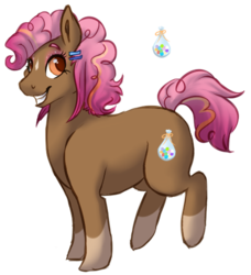 Size: 477x523 | Tagged: safe, artist:amiookamiwolf, oc, oc only, oc:party prize, earth pony, pony, cutie mark, eyeshadow, female, glitter, hairclip, makeup, mare, offspring, parent:cheese sandwich, parent:pinkie pie, parents:cheesepie, simple background, smiling, socks (coat marking), transparent background
