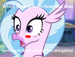 Size: 741x561 | Tagged: artist:gooeybird, blushing, caption, derpibooru, derpibooru exclusive, female, hippogriff, implied episode rehash, implied gallstream, implied gallus, implied shipping, meme, meta, safe, screencap, shipping fuel, shocked expression, silverstream, solo, spoiler:s09e11, student counsel, treehouse of harmony