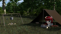 Size: 1536x864 | Tagged: safe, artist:dracagon, oc, oc only, oc:seranae, pony, 3d, book, bucket, camping, female, floral head wreath, flower, forest, glasses, grass, mare, picnic blanket, prone, solo, tent, tree