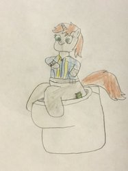 Size: 772x1034 | Tagged: safe, artist:snipiper, oc, oc only, oc:littlepip, pony, unicorn, fallout equestria, but why, clothes, fanfic, fanfic art, female, hooves, horn, implied pooping, mare, pipboy, pipbuck, sitting, solo, toilet, traditional art, vault suit