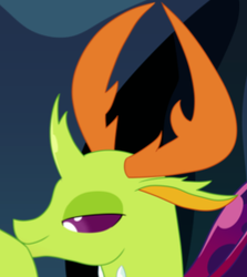 Size: 257x288 | Tagged: safe, artist:blargsnarf, thorax, changedling, changeling, bedroom eyes, cropped, explicit source, horns, king thorax, looking forward, smiling, solo, wings