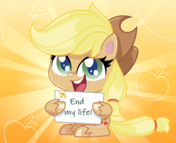 Size: 1246x1012 | Tagged: safe, applejack, my little pony: pony life, dissonant caption, pony life applejack's sign, sign, text