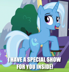 Size: 474x492 | Tagged: safe, edit, edited screencap, screencap, trixie, pony, unicorn, no second prances, butt, caption, cropped, female, image macro, innuendo, mare, meme, plot, solo, text, this will end in snu snu