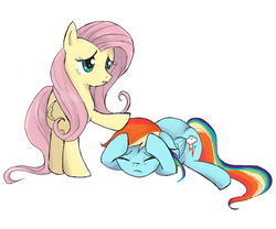 Size: 800x667 | Tagged: safe, artist:yuniuni11, fluttershy, rainbow dash, pegasus, pony, the crystalling, concerned, covering, eyes closed, female, head pat, lidded eyes, mare, pat, patting, scene interpretation, simple background, white background