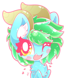 Size: 727x840 | Tagged: artist:hungrysohma, blushing, chest fluff, cute, dracony, dragon, ear fluff, female, heart, hybrid, oc, one eye closed, pony, safe, simple background, transparent background, wink