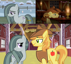 Size: 2064x1868 | Tagged: safe, artist:icaron, edit, braeburn, marble pie, earth pony, pony, barn, braeble, brokeback mountain, dancing, female, heartbreak, hope, indoors, introduction, lonely, looking at each other, lyrics in the description, male, mary mcbride, meeting, movie reference, no one's gonna love you like me, outdoors, romance, sad, shipping, show accurate, smiling, song reference, straight, this will end in love, together, youtube link