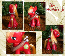Size: 600x510 | Tagged: artist:phasingirl, big macintosh, christmas, christmas decoration, close-up, custom, freckles, holiday, irl, photo, safe, solo, toy, turnaround, yoke