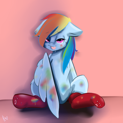 Size: 3000x3000 | Tagged: safe, artist:rainy105, rainbow dash, pegasus, pony, clothes, female, floppy ears, mare, sexy, socks, stupid sexy rainbow dash, tongue out
