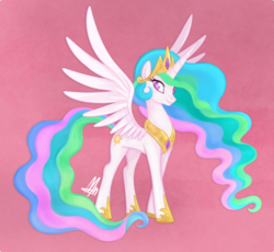 Size: 500x459 | Tagged: safe, artist:mn27, princess celestia, alicorn, pony, collar, colored pupils, crown, cute, cutelestia, female, hoof shoes, jewelry, mare, necklace, pink background, regalia, simple background, solo, spread wings, wings