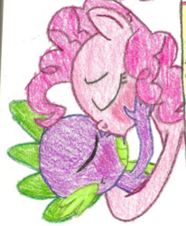 Size: 461x560 | Tagged: artist needed, safe, pinkie pie, spike, female, kissing, male, pinkiespike, shipping, straight, traditional art