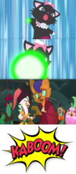 Size: 590x1355 | Tagged: abyssinian, anthro, artist:mega-poneo, bird, capper dapperpaws, captain celaeno, cat, clothes, comic, crossover, deck, diana (jewelpet), edit, edited screencap, explosion, fear, jewelpet, lix spittle, magic, mega poneo strikes again, meme, mullet (character), murdock, my little pony: the movie, parrot pirates, pirate, safe, scared, screencap, screencap comic, shooting, squabble