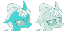 Size: 1280x618 | Tagged: artist:gooeybird, artist:sintakhra, blue changeling, changedling, changeling, colored, color edit, comparison, cropped, edit, editor:gooeybird, female, looking at you, ocellus, ocellus is not amused, photo, safe, side by side, solo, unamused, writing
