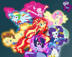 Size: 2000x1572 | Tagged: safe, artist:sapphiregamgee, applejack, fluttershy, pinkie pie, rainbow dash, rarity, sci-twi, sunset shimmer, twilight sparkle, human, equestria girls, equestria girls series, armpits, equestria girls logo, humane five, humane seven, humane six, ponied up, super ponied up, team