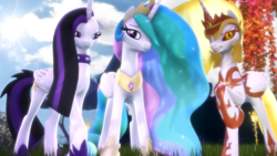 Size: 3840x2160 | Tagged: 3d, alicorn, alternate hairstyle, a royal problem, artist:loveslove, between dark and dawn, choker, collar, daybreaker, female, mare, multeity, one hoof raised, pony, princess celestia, punklestia, safe, source filmmaker, spiked choker, spiked collar, spoiler:s09e13, triality