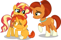 Size: 1099x727 | Tagged: absurd resolution, artist:orin331, blaze (coat marking), colt, family, female, foal, headband, hug, jewelry, male, mare, mother and children, necklace, pony, raised hoof, saddle bag, safe, socks (coat marking), stellar flare, sunburst, sunny siblings, sunset shimmer, teenager, trio, unicorn
