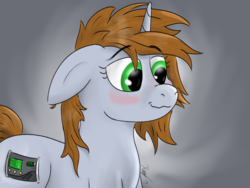 Size: 1600x1200 | Tagged: artist:kalashnikitty, blushing, cute, cutie mark, digital art, fallout equestria, fanfic, fanfic art, female, floppy ears, gradient background, horn, littlepip without stable suit, mare, oc, oc:littlepip, oc only, pony, safe, smiling, solo, someone boop this pony, spiky mane, unicorn