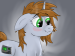 Size: 1600x1200 | Tagged: safe, artist:kalashnikitty, oc, oc only, oc:littlepip, pony, unicorn, fallout equestria, blushing, cute, cutie mark, digital art, fanfic, fanfic art, female, floppy ears, gradient background, horn, littlepip without stable suit, mare, smiling, solo, someone boop this pony, spiky mane