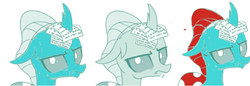 Size: 684x234 | Tagged: artist:gooeybird, artist:sintakhra, blue changeling, changedling, changeling, colored, color edit, comparison, cropped, edit, female, looking at you, ocellus, ocellus is not amused, photo, post-it, red hair, safe, side by side, unamused, writing