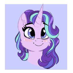 Size: 1200x1200 | Tagged: safe, artist:scarletskitty12, starlight glimmer, pony, unicorn, blushing, bust, cheek fluff, cute, ear fluff, female, glimglam, glimmerbetes, mare, portrait, smiling, solo