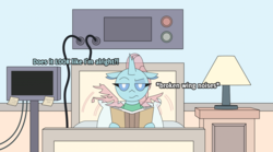 Size: 6000x3333 | Tagged: safe, artist:gd_inuk, ocellus, changedling, changeling, bed, book, descriptive noise, female, heart monitor, hospital bed, hospital gown, hospital room, injured, injured wing, lamp, looking at you, ocellus is not amused, pillow, post-it, solo, unamused, wings