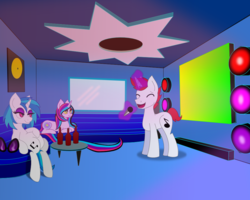 Size: 1000x800 | Tagged: alcohol, artist:auroraswirls, beer, beer bottle, dj pon-3, eyes closed, female, glowing horn, horn, karaoke, magic, male, mare, microphone, music notes, oc, oc:nebula nova, oc:redrecord, pony, safe, singing, sitting, stallion, sunglasses, telekinesis, unicorn, vinyl scratch