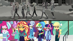 Size: 1920x1080 | Tagged: applejack, bird, canterlot high, chad (owl), clothes, earmuffs, equestria girls, equestria girls series, female, fluttershy, fluttershy's winter hat, holidays unwrapped, human, humane five, humane seven, humane six, imagine spot, jacket, owl, pinkie pie, rainbow dash, rarity, rarity's winter hat, safe, sci-twi, screencap, snow, split screen, spoiler:eqg series (season 2), sunglasses, sunset shimmer, twilight sparkle, vest, winter break-in, winter coat, winter hat, winter jacket, winter outfit