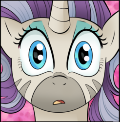 Size: 608x618 | Tagged: safe, artist:candyclumsy, fluttershy, rarity, starlight glimmer, zecora, oc, oc:princess mythic majestic, alicorn, pegasus, pony, unicorn, zebra, comic:a step backward's, bust, commissioner:bigonionbean, cropped, female, full face view, fusion, fusion:princess mythic majestic, i can't believe it's not idw, mare, merge, open mouth, profile picture, shocked, shocked expression, wide eyes