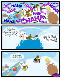 Size: 3500x4500 | Tagged: artist:becauseimpink, colt, comic, comic:transition, dialogue, dumbbell, dumb belle, female, filly, filly rainbow dash, gilda, griffon, guilder, hoops, implied butterscotch, laughing, male, offscreen character, quarterback, rainbow dash, rule 63, safe, transgender, younger