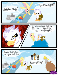 Size: 3500x4500 | Tagged: safe, artist:becauseimpink, dumbbell, fluttershy, gilda, hoops, quarterback, rainbow dash, griffon, comic:transition, butterscotch, colt, comic, dialogue, dumb belle, female, filly, filly fluttershy, filly rainbow dash, flying, guilder, male, rule 63, smiling, smirk, transgender, trash can, younger