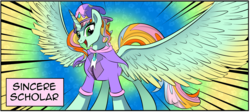 Size: 1764x787 | Tagged: alicorn, artist:candyclumsy, cheerilee, clothes, comic:mlp: education reform, commissioner:bigonionbean, cropped, female, fusion, fusion:princess sincere scholar, hat, i can't believe it's not idw, majestic as fuck, mare, merge, ms. harshwhinny, oc, oc:princess sincere scholar, pegasus, pony, rainbow background, safe, spitfire, too much jpeg, trixie, trixie's hat, unicorn, writer:bigonionbean