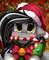 Size: 1446x1764 | Tagged: safe, artist:pridark, oc, oc:storm breaker, pegasus, pony, bell, blushing, candy, candy cane, christmas, commission, cute, food, hat, holiday, mouth hold, ocbetes, pridark's christmas ponies, santa hat, solo, wreath, ych result