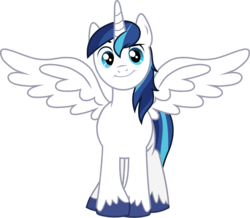 Size: 2578x2251 | Tagged: safe, artist:chainchomp2 edit, edit, edited edit, vector edit, shining armor, alicorn, pony, alicornified, cocked eyebrow, cute, looking at you, male, outstretched wings, prince shining armor, race swap, shining adorable, shiningcorn, simple background, smiling, solo, stallion, transparent background, unshorn fetlocks, vector, wings