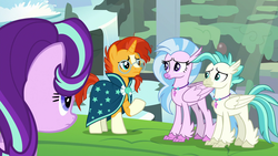 Size: 1920x1080 | Tagged: classical hippogriff, hippogriff, pony, safe, screencap, silverstream, spoiler:s09e11, starlight glimmer, student counsel, sunburst, terramar