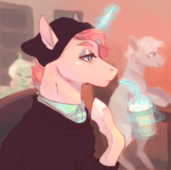 Size: 724x719 | Tagged: artist:trashscoot, beanie, beauty mark, cafe, clothes, drink, eyeshadow, frown, glowing horn, hat, heart, horn, lidded eyes, magic, makeup, oc, oc:ellis, oc only, pony, raised hoof, safe, shirt, solo, straw, sweater, telekinesis, unicorn