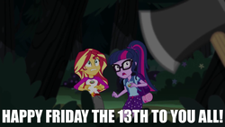 Size: 1280x720 | Tagged: artist needed, safe, edit, edited screencap, screencap, sci-twi, sunset shimmer, twilight sparkle, human, equestria girls, legend of everfree, axe, bag, belt, belt buckle, bush, camp everfree, camp everfree logo, camp everfree outfits, caption, clothes, cutie mark, cutie mark clothes, exclamation point, eyes open, fear, female, forest, friday the 13th, glasses, grass, hairpin, implied timber spruce, logo, meme, night, numbers, offscreen character, open eyes, open mouth, out of context, outdoors, outfit, pocket, pockets, ponytail, scared, shirt, shorts, sleeping bag, standing, standing up, stars, symbol, teeth, text, text edit, tree, wall of tags, weapon, woman