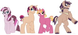 Size: 1024x470 | Tagged: artist:faith-wolff, blank flank, earth pony, female, glasses, half-siblings, magical lesbian spawn, male, mare, neckerchief, oc, oc only, offspring, parent:applejack, parent:big macintosh, parent:moondancer, parents:sunsetsparkle, parents:twidancer, parents:twijack, parents:twimac, parent:sunset shimmer, parent:twilight sparkle, pony, rearing, safe, simple background, stallion, transparent background, unicorn